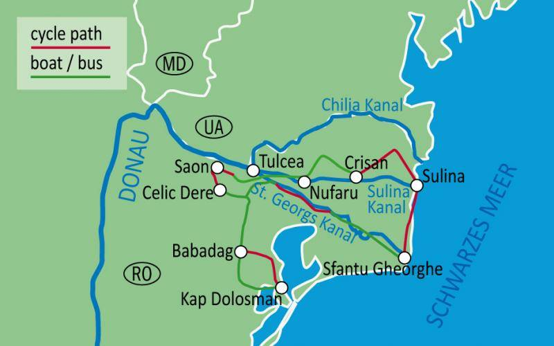 Route from Tulcea to Danube Delta